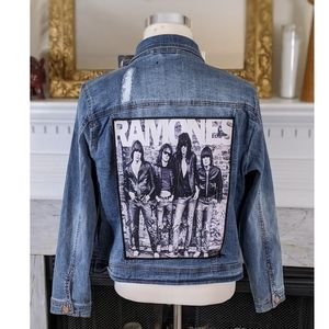 Dollhouse Blue Custom Denim Jean Ramones Jacket 2X